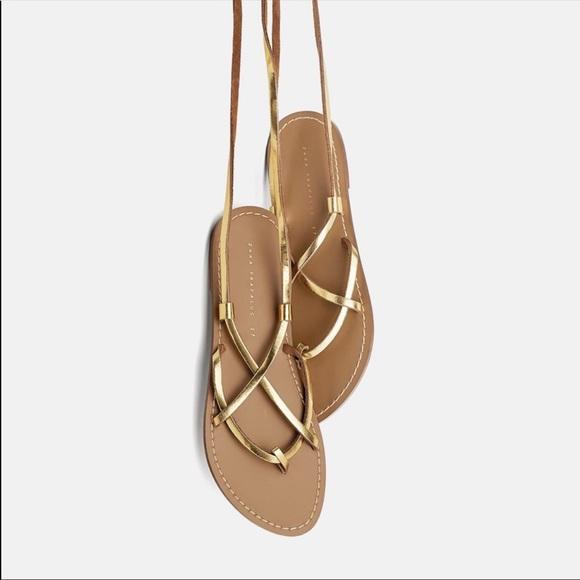 Zara Sandals Lace up Gold Flat Sandals